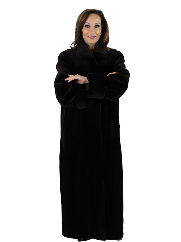 Woman's Very Dark Brown Sheared Mink Fur Coat