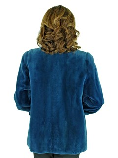 Woman's Blue Sheared Mink fur Jacket