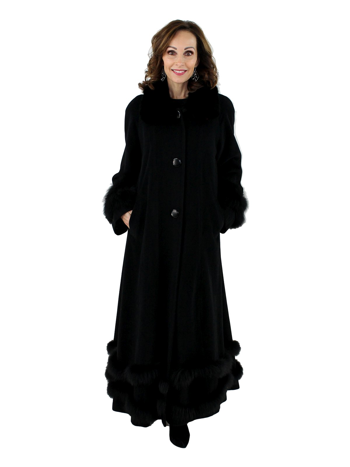 Woman's Black Wool Coat with Black Fox Fur Trim
