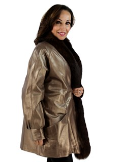 New Woman's Gold Leather Jacket with Fox Tuxedo Front