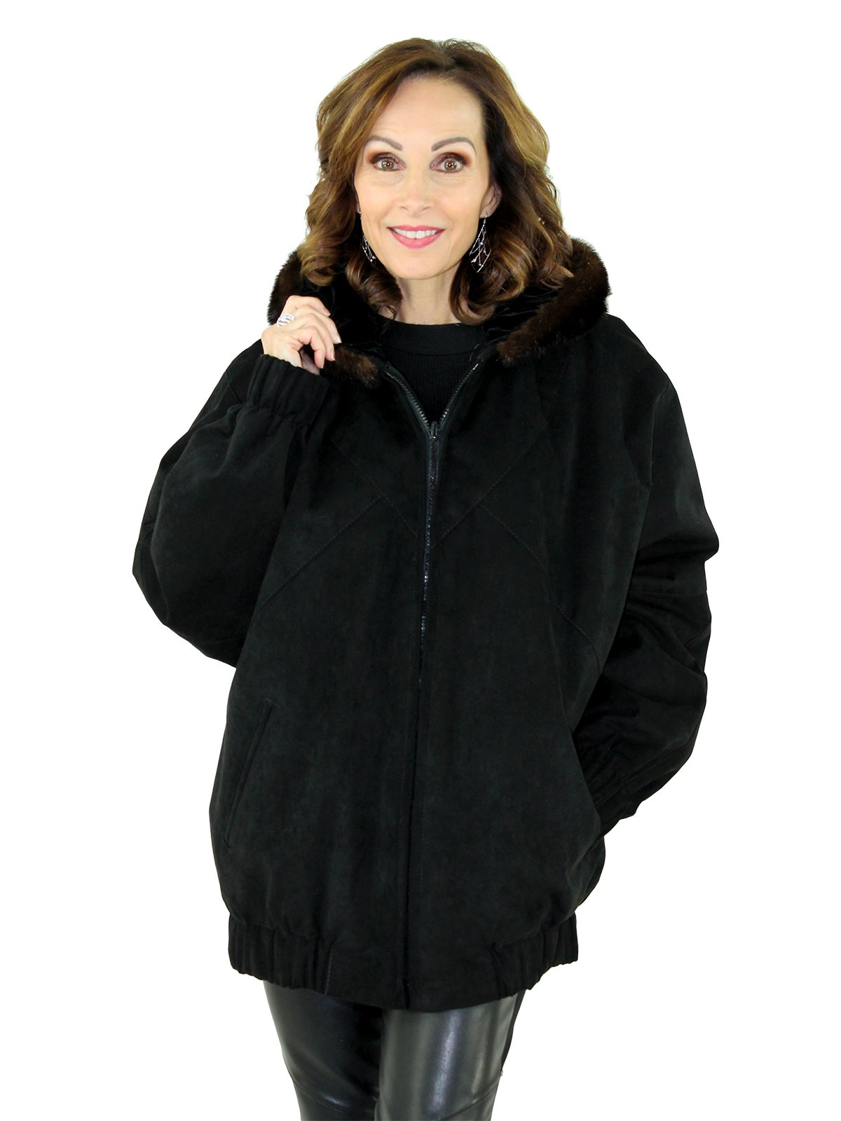 Women's Black Ultra Suede Zip Parka with Mink Fur Trimmed Hood
