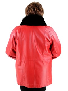 Woman's New Red Leather Jacket with Large Fox Collar