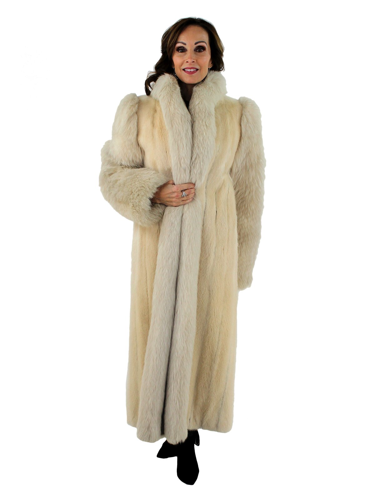 Woman's Blush Mink Fur Coat with Blush Fox Fur Sleeves and Tuxedo Front