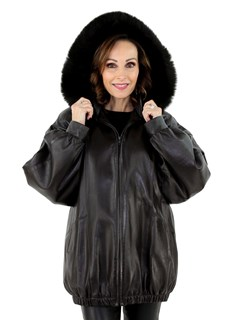 Women's Brown Leather Parka with Fox Fur Trimmed Detachable Hood