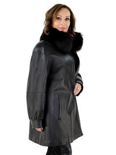 Woman's Black Leather Stroller with Black Fox Fur Collar
