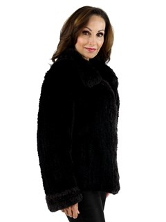 Woman's New Two Tone Black and Grey Knit Rex Rabbit Fur Jacket Reversible to Rain Fabric