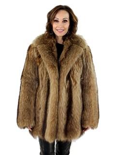 Woman's Golden Raccoon Fur Stroller