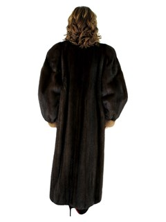 Woman's Mahogany Mink Fur Coat with Autumn Haze Mink Trim