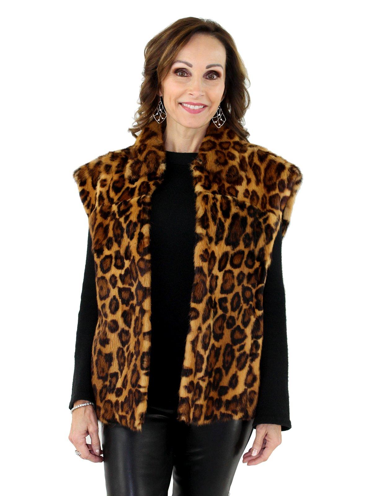 Woman's Stenciled Leopard Print Mink Vest