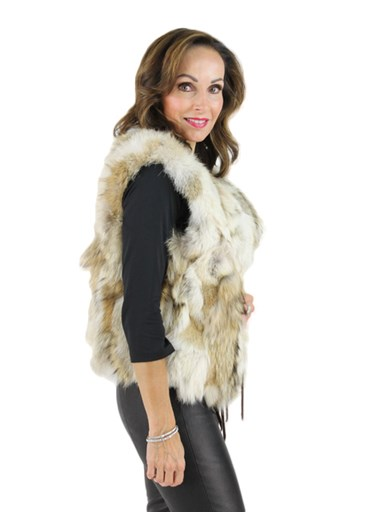 Woman's Coyote and Leather Reversible Vest