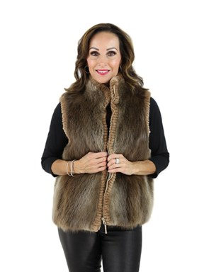 Blond Long Hair Beaver Fur Vest