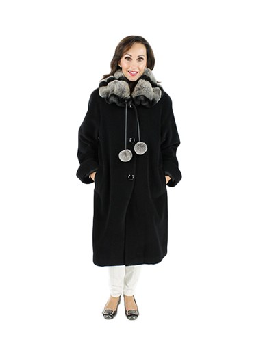 Cashmere Blend Coat w/ Rex Fur Collar
