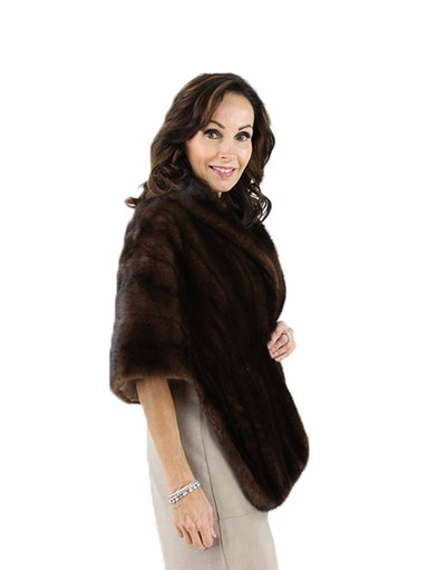 Woman's Mahogany Female Mink Fur Stole