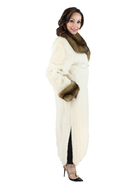White Mink Fur Coat with Sable Fur Collar and Cuffs