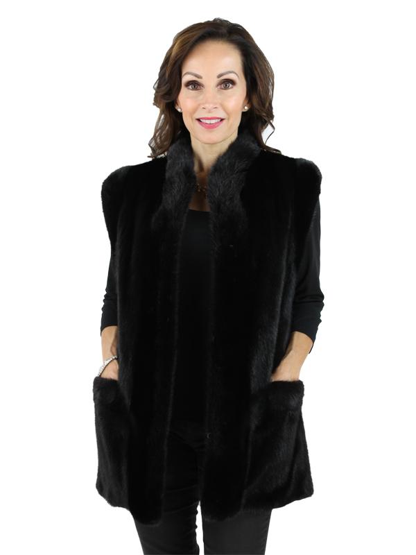 Woman's Ranch Mink Fur Vest Reversible to Leather