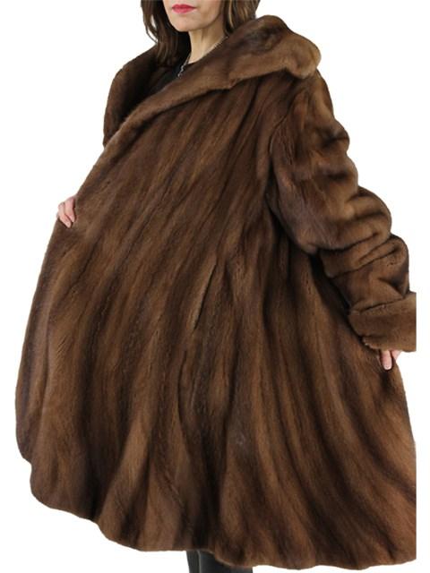 Woman's Demi Buff Mink Fur Stroller with Directional Hem