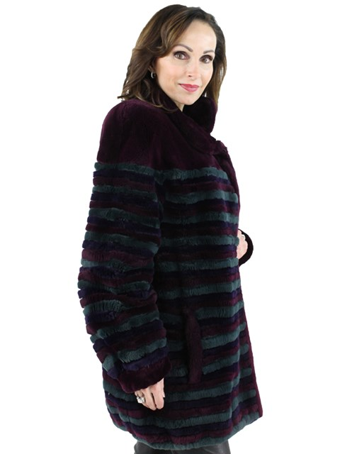 Woman's Multi Colored Sheared Beaver Fur Jacket