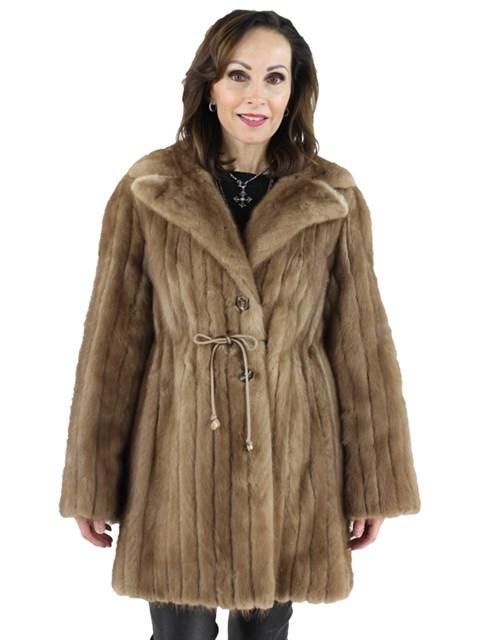 Woman's Pastel Mink Cord Cut Fur Stroller