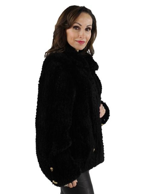 Paula Lishman Woman's Black Knitted Sheared Beaver Fur Jacket