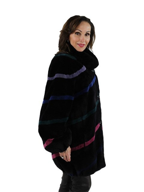 Woman's Black Sheared Beaver Fur Jacket