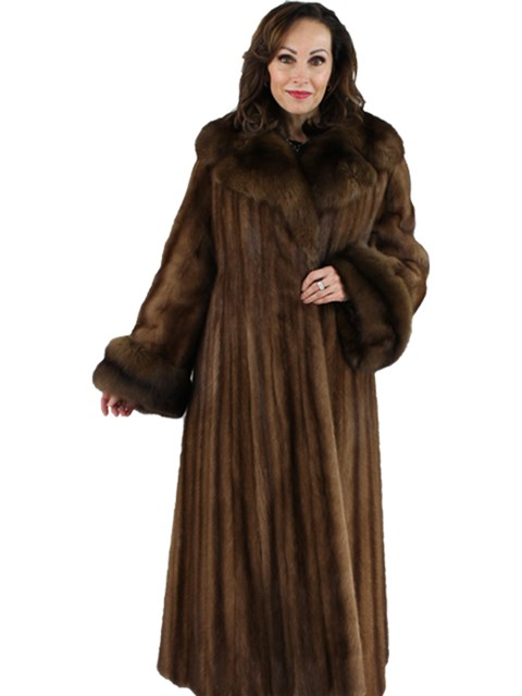 Woman's Demi Buff Female Mink Fur Coat with Sable Collar and Cuffs