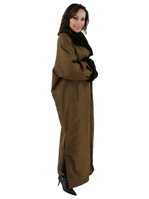 Woman's Brown and Bronze Rabbit Fur Lined Raincoat with Sheared Mink Trim