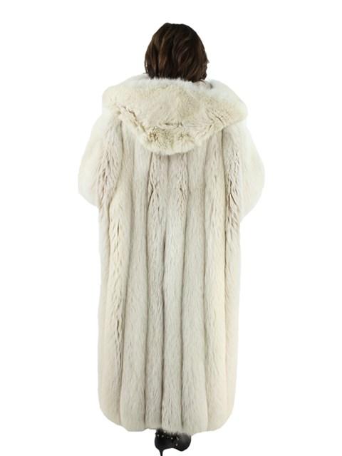 Woman's Plus Size Hooded Blush Fox Fur Coat