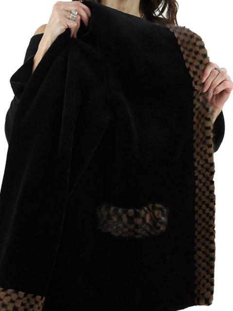 Woman's Black Sheared Mink Fur Jacket Reversible to Rain Taffeta