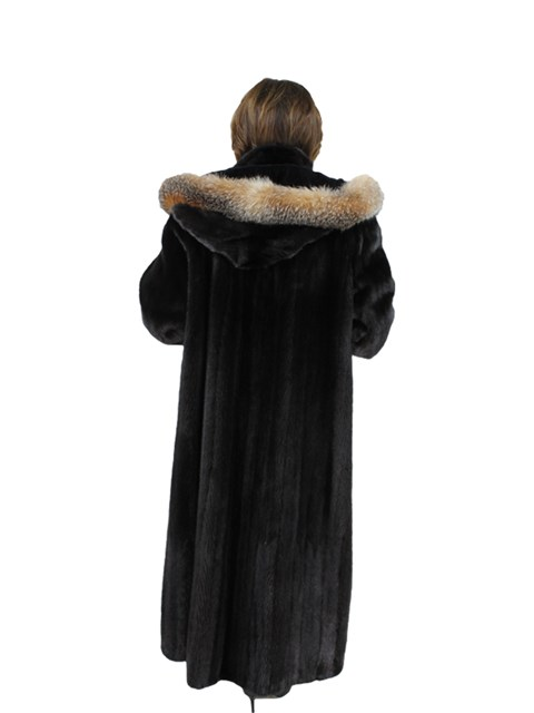 Woman's Ranch Mink Fur Coat with Detachable Fox Trimmed Hood