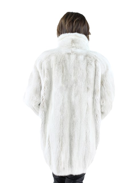 Woman's Blush Mink Fur Jacket with Two Tone Rope Effect Detail