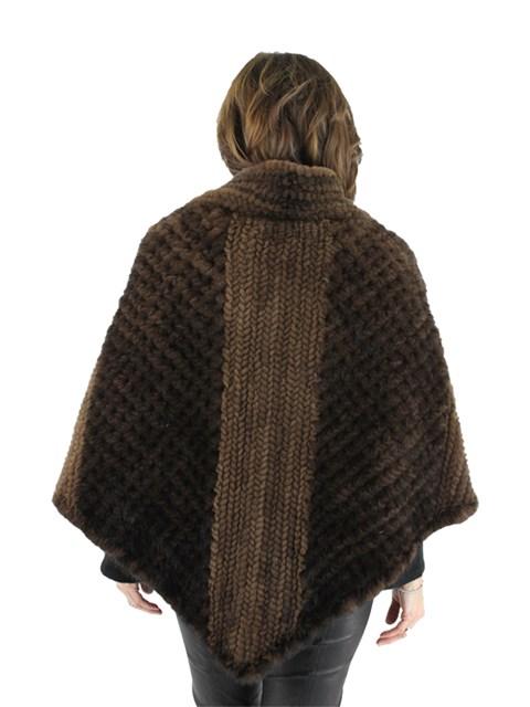 Gorski Mahogany Mink Knit Fur Poncho