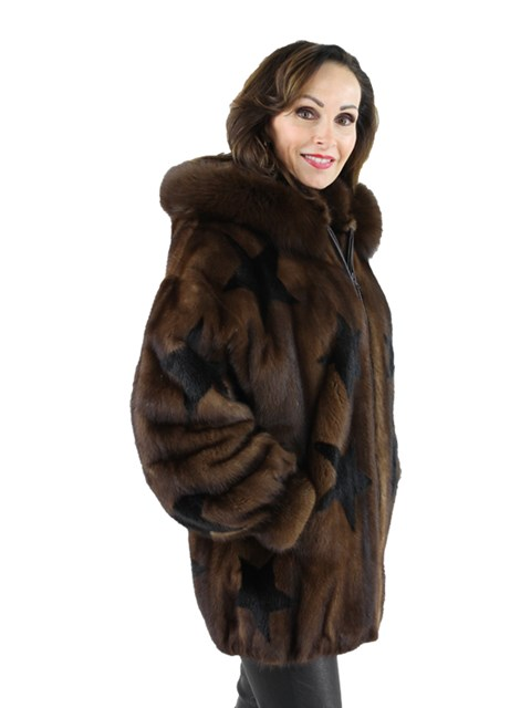Woman's Demi Buff Mink Fur Parka with Star Inserts