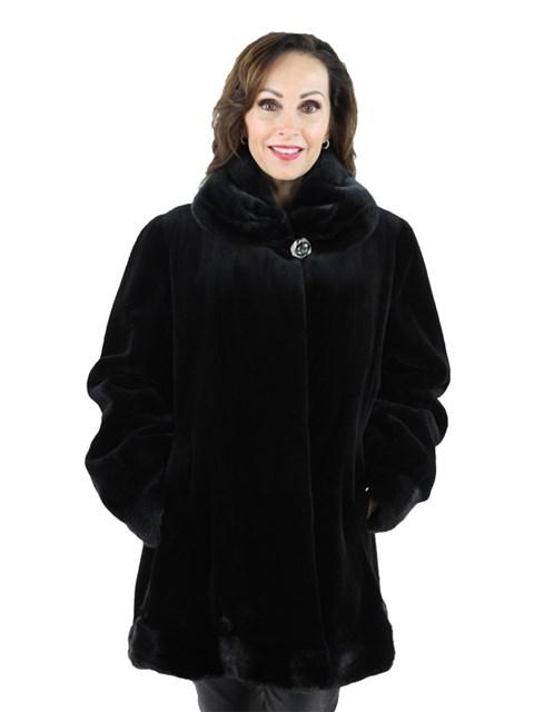 Woman's Black Sheared Mink Fur Swing Jacket