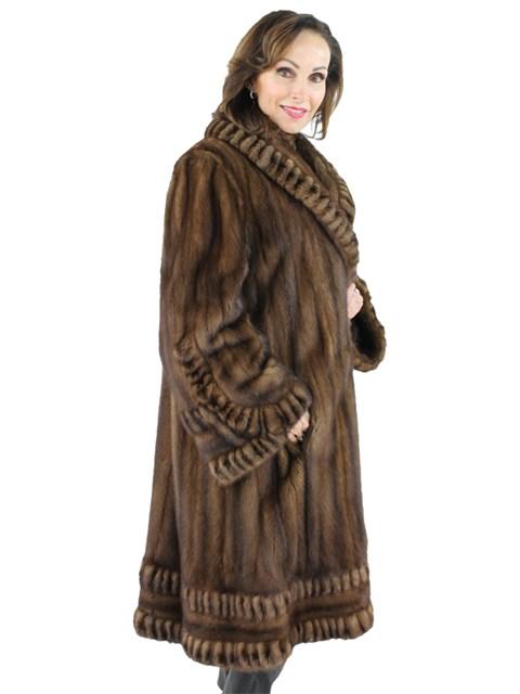 Woman's Plus Size Mahogany Female Mink Fur Swing Coat