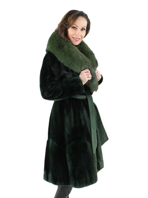 Woman's Green Sheared Rabbit Fur Coat with Fox Collar