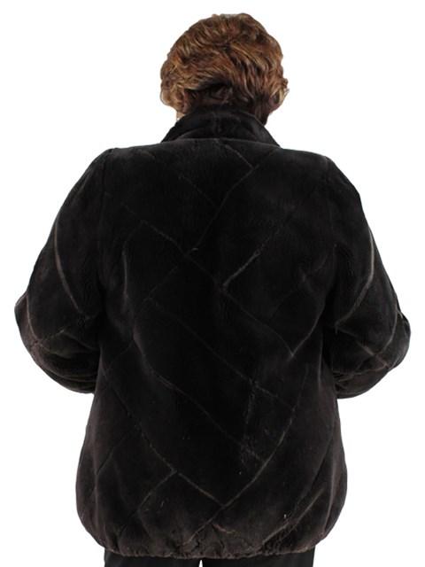 Woman's Brown Sheared Beaver Fur Reversible Jacket