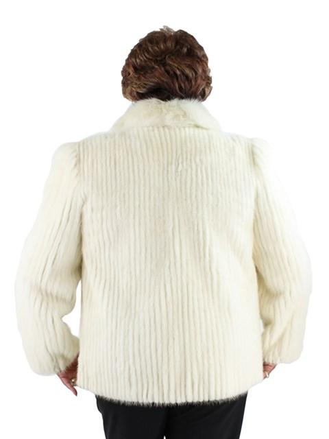 Woman's White Mink Cord Cut Fur Jacket with Fox Tuxedo Front