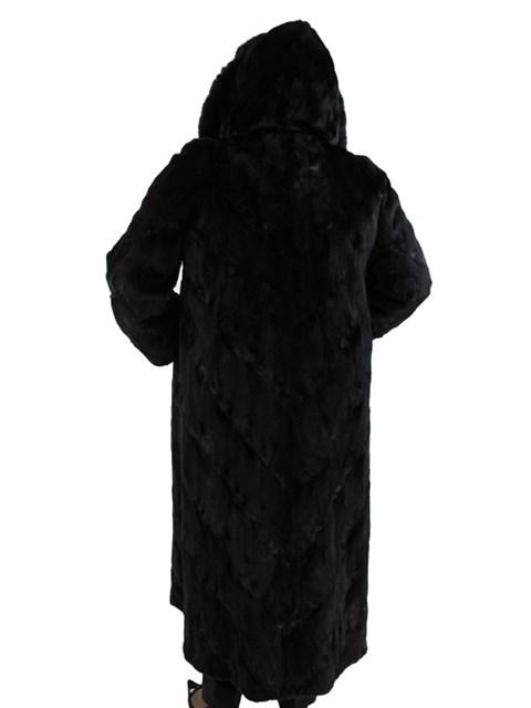 Woman's Full Length Semi Sheared Ranch Mink Fur Coat