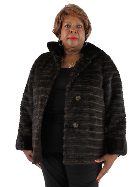 Woman's Horizontal Mink Fur Jacket
