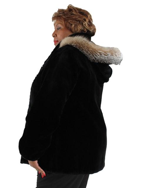 Woman's Plus Size Black Sheared Beaver Fur Stroller