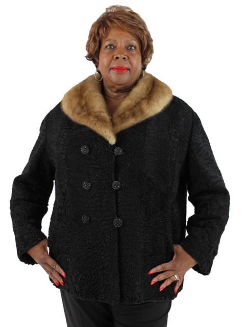 Woman's Persian Lamb Jacket with Autumn Haze Mink Collar