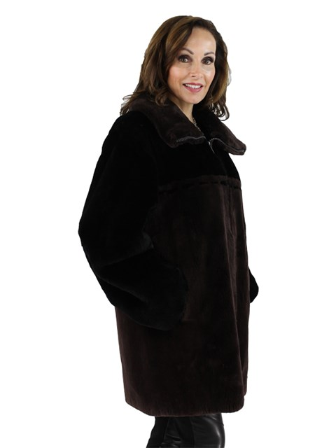 Woman's Brown and Black Sheared Beaver Fur Zipper Jacket