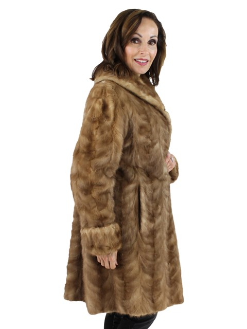 Woman's Pastel Mink Fur Section Stroller