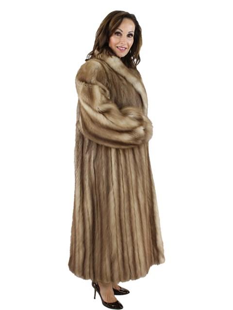 Woman's Natural Stone Marten Fur Coat