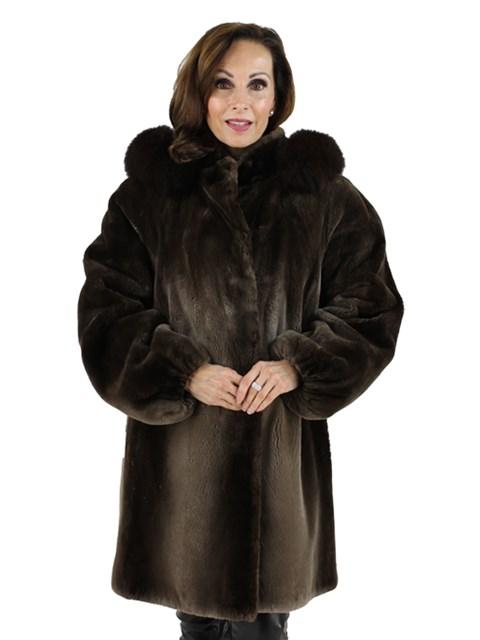 Stunning and Unusual Woman's Phantom Sheared Beaver Fur Parka