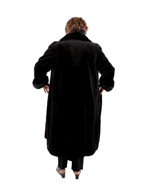 Deep Dark Brown Woman's Sheared Mink Fur Full Length Coat with Chinchilla Trim