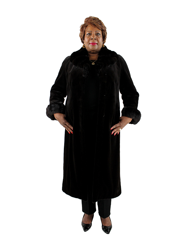 Deep Dark Brown Woman's Sheared Mink Fur Full Length Coat with Chinchilla Trim