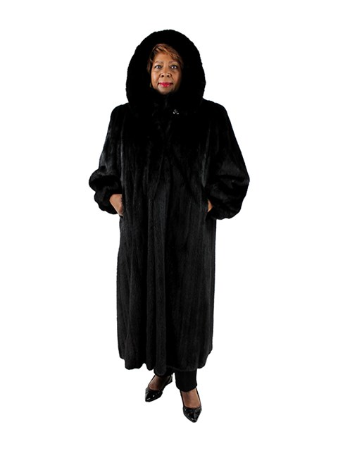 Woman's Plus Size Female Ranch Mink Fur Coat with Detachable Fox Trimmed Hood