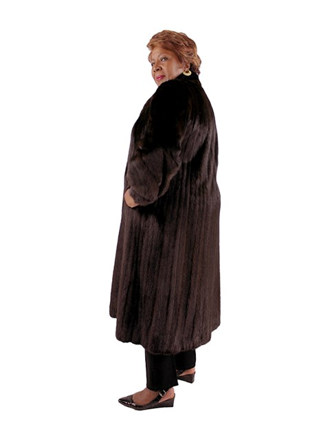 Woman's Plus Size Dark Mahogany Female Mink Fur Coat