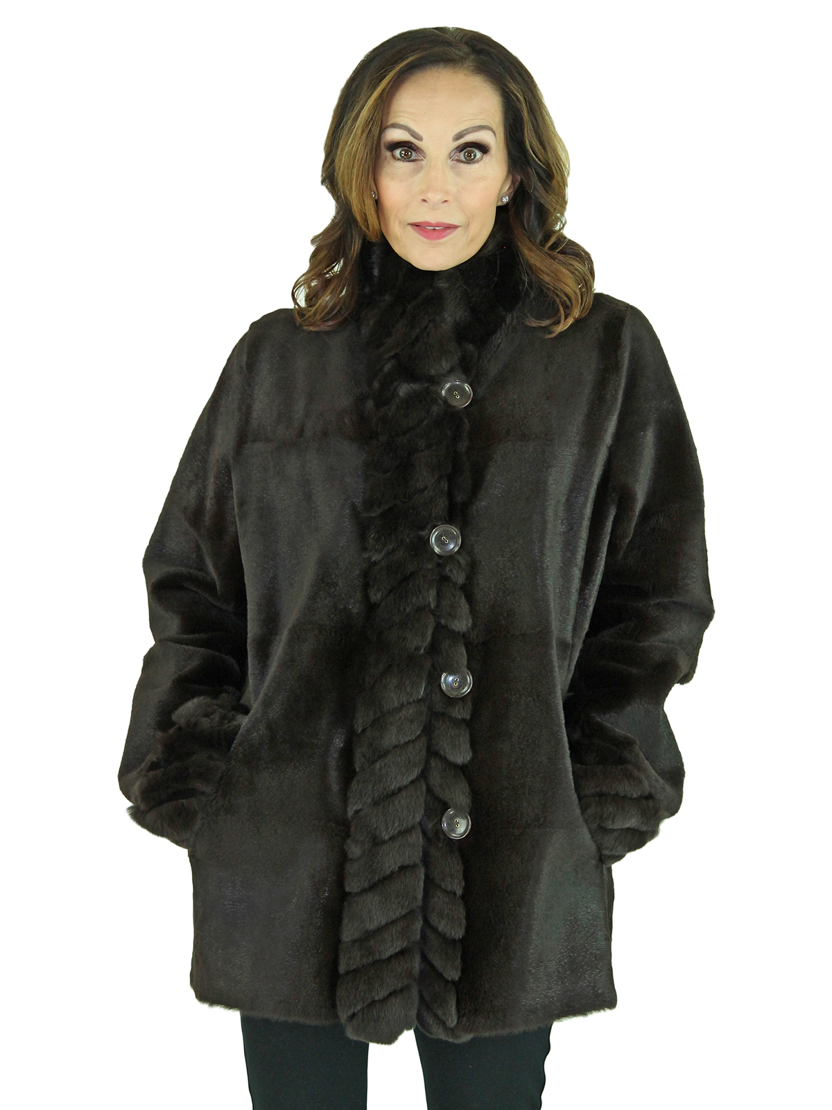 Woman's Brown Sheared Rabbit Fur Jacket Reversing to Leather